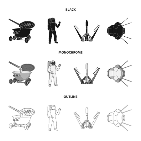 Lunokhod, space suit, rocket launch, artificial Earth satellite. Space technology set collection icons in black,monochrome,outline style vector symbol stock illustration web.