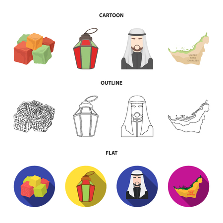 Eastern sweets, Ramadan lamp, Arab sheikh, territory.Arab emirates set collection icons in cartoon,outline,flat style vector symbol stock illustration web.
