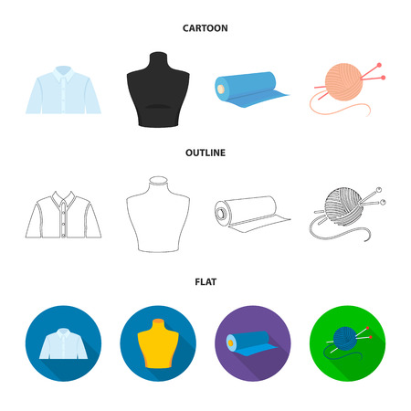 A man shirt, a mannequin, a roll of fabric, a ball of threads and knitting needles.Atelier set collection icons in cartoon,outline,flat style vector symbol stock illustration web.