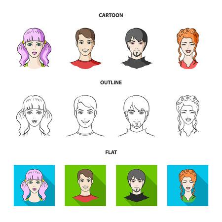 Diferentes miradas de los jóvenes.Avatar y cara establecen los iconos de la colección en la web de dibujos animados, contorno, estilo plano vector símbolo stock de ilustración. Ilustración de vector