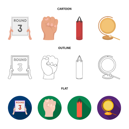 Boxing, sport, round, hand. Boxing set collection icons in cartoon,outline,flat style vector symbol stock illustration web.