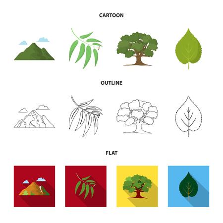 Montaña, nube, árbol, rama, hoja.El bosque establece los iconos de la colección en la web de dibujos animados, contorno, plano estilo vector símbolo stock de ilustración.