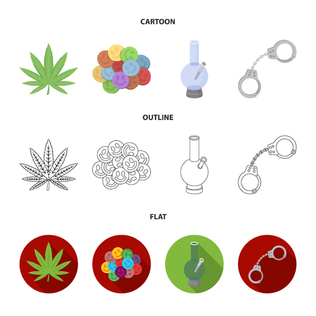 Hemp leaf, ecstasy pill, handcuffs, bong.Drug set collection icons in cartoon,outline,flat style vector symbol stock illustration web. Illustration