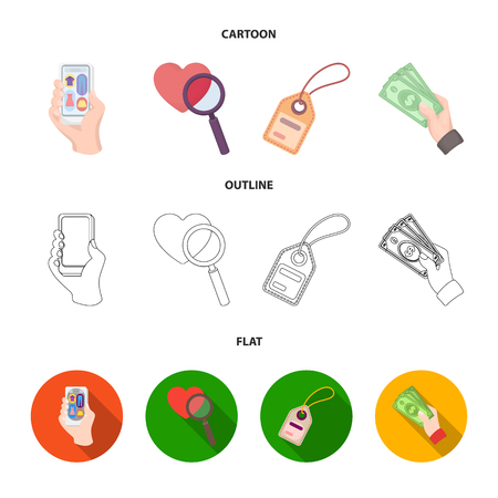 Hand, mobile phone, online store and other equipment. E commerce set collection icons in cartoon,outline,flat style vector symbol stock illustration web.