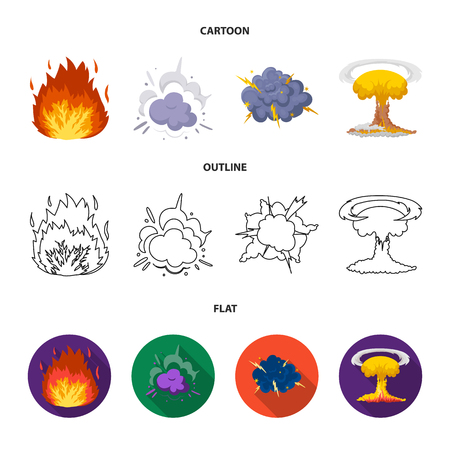 Flame, sparks, hydrogen fragments, atomic or gas explosion. Explosions set collection icons in cartoon,outline,flat style vector symbol stock illustration web. Banco de Imagens - 101767562