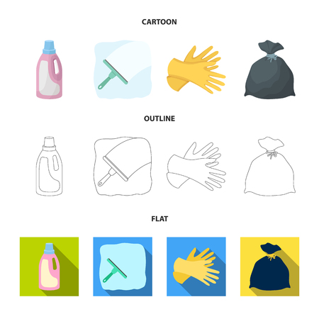 Gel for washing in a pink bottle, yellow gloves for cleaning, a brush for glass, a black bag for garbage or waste. Cleaning set collection icons in cartoon,outline,flat style vector symbol stock illustration web.