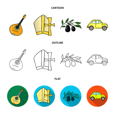 Mandolin, papa, olive, retro auto.Italy country set collection icons in cartoon,outline,flat style vector symbol stock illustration web. Illustration