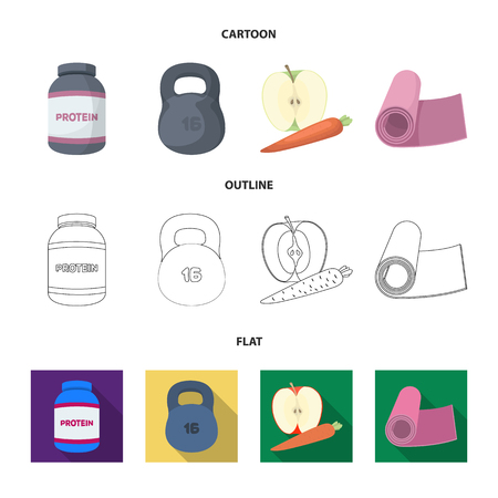 Protein, vitamins and other equipment for training.Gym and workout set collection icons in cartoon,outline,flat style vector symbol stock illustration web. Illustration