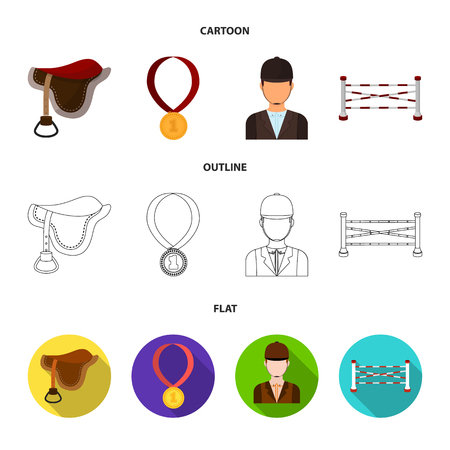 Saddle, medal, champion, winner .Hippodrome and horse set collection icons in cartoon,outline,flat style vector symbol stock illustration web.