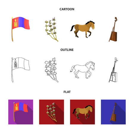 National flag, horse, musical instrument, steppe plant. Mongolia set collection icons in cartoon,outline,flat style vector symbol stock illustration web.