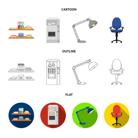 Shelves, folders and notebooks with business records, a coffee machine with cups, an armchair with a backrest on wheels, a desk lamp. Office Furniture set collection icons in cartoon,outline,flat style vector symbol stock illustration web.