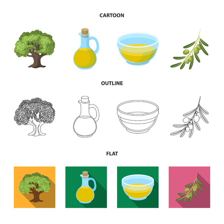 An olive tree, a branch with olives, a vessel and a jug of oil. Olives set collection icons in cartoon,outline,flat style vector symbol stock illustration web.