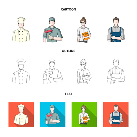 Cook, painter, teacher, locksmith mechanic.Profession set collection icons in cartoon,outline,flat style vector symbol stock illustration web.