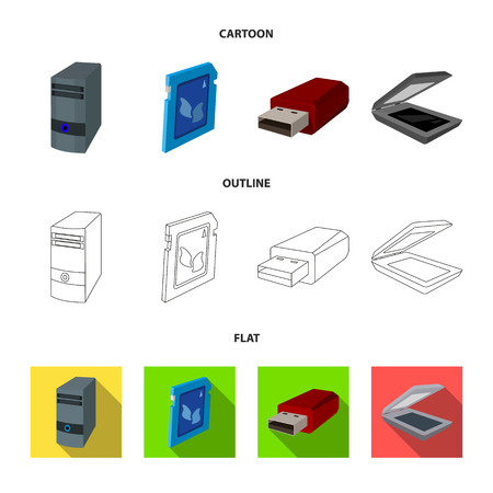 A system unit, a flash drive, a scanner and a SD card. Personal computer set collection icons in cartoon,outline,flat style vector symbol stock illustration web. Фото со стока - 101767902