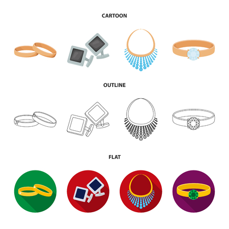 Wedding rings, cuff links, diamond necklace, women ring with a stone. Jewelery and accessories set collection icons in cartoon,outline,flat style vector symbol stock illustration web.