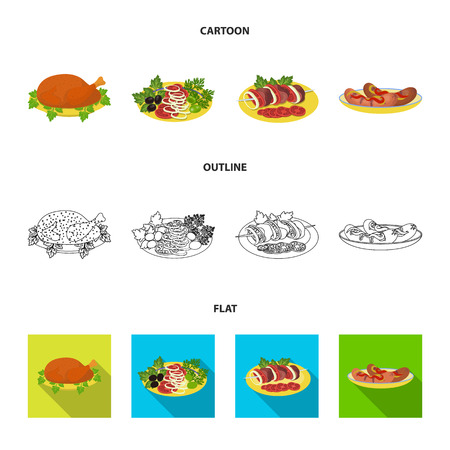 Fried chicken, vegetable salad, shish kebab with vegetables, fried sausages on a plate. Food and Cooking set collection icons in cartoon,outline,flat style vector symbol stock illustration web.