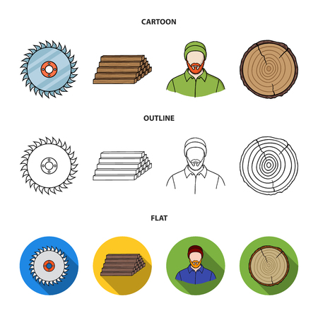Circular saw, a working carpenter, a stack of logs. A sawmill and timber set collection icons in cartoon,outline,flat style vector symbol stock illustration web. Ilustrace