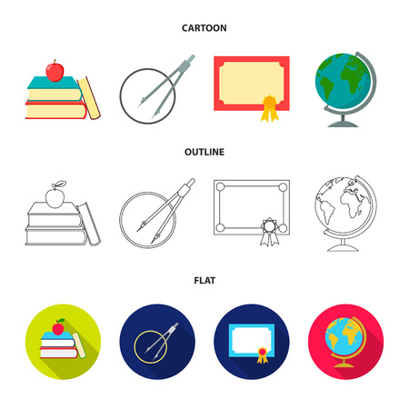 Books, an apple, a compass with a circle, a diploma with a seal, a globe. School set collection icons in cartoon,outline,flat style vector symbol stock illustration web.