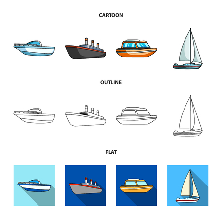 Protection boat, lifeboat, cargo steamer, sports yacht.Ships and water transport set collection icons in cartoon,outline,flat style vector symbol stock illustration web.