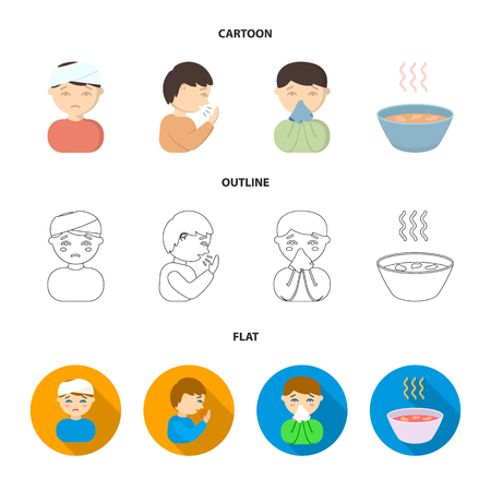 A man with a bandaged head, a man coughing, a man snorts a snot, a bowl, a bowl of hot broth into a handkerchief. Sick set collection icons in cartoon,outline,flat style vector symbol stock illustration web. Stock Illustratie