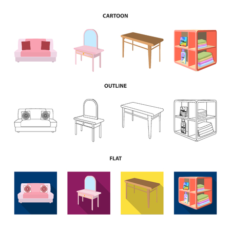Soft sofa, toilet make-up table, dining table, shelving for laundry and detergent. Furniture and interior set collection icons in cartoon,outline,flat style isometric vector symbol stock illustration web.