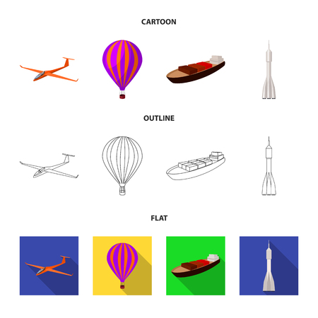 A drone, a glider, a balloon, a transportation barge, a space rocket transport modes. Transport set collection icons in cartoon,outline,flat style vector symbol stock illustration web. Banque d'images - 101767983