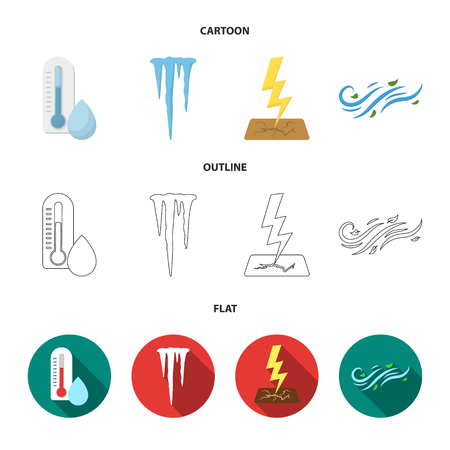 Humidity, icicles, thunderbolt, windy weather. Weather set collection icons in cartoon,outline,flat style vector symbol stock illustration web.