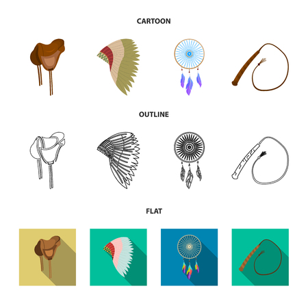 Saddle, Indian mohawk, whip, dream catcher.Wild west set collection icons in cartoon,outline,flat style vector symbol stock illustration web.