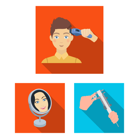 Manipulation by hands flat icons in set collection for design. Hand movement vector symbol stock  illustration. Illustration
