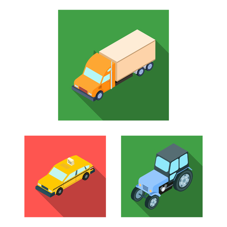 Different types of transport flat icons in set collection for design. Car and ship isometric vector symbol stock  illustration. Иллюстрация