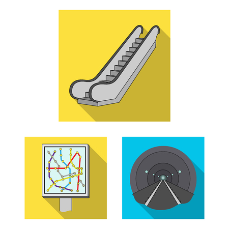 Metro, subway flat icons in set collection for design.Urban transport vector symbol stock  illustration. Illustration