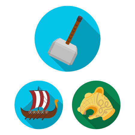 Vikings and attributes flat icons in set collection for design.Old Norse Warrior vector symbol stock  illustration.
