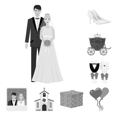 デザインのためのセットコレクションの結婚式と属性モノクロアイコン。新婚とアクセサリーのベクトルシンボルのイラスト。