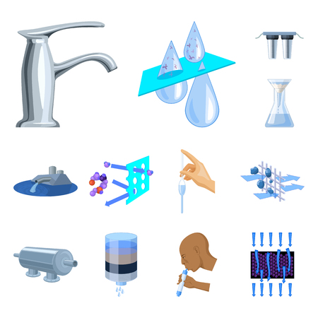 Water filtration system cartoon icons in set collection for design. Cleaning equipment vector symbol stock  illustration. Vettoriali