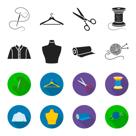 A man shirt, a mannequin, a roll of fabric, a ball of threads and knitting needles.Atelier set collection icons in black,flet style vector symbol stock illustration .