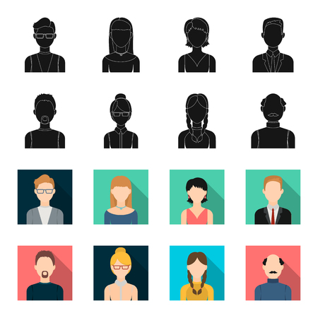 A man with a beard, a businesswoman, a pigtail girl, a bald man with a mustache.Avatar set collection icons in black,flet style vector symbol stock illustration .