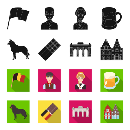 Chocolate, cathedral and other symbols of the country.Belgium set collection icons in black,flet style vector symbol stock illustration .