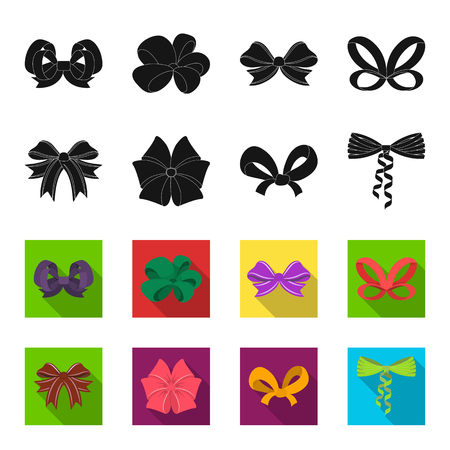 Bow, ribbon, decoration, and other icon in black,flet style. Gift, bows, node icons in set collection