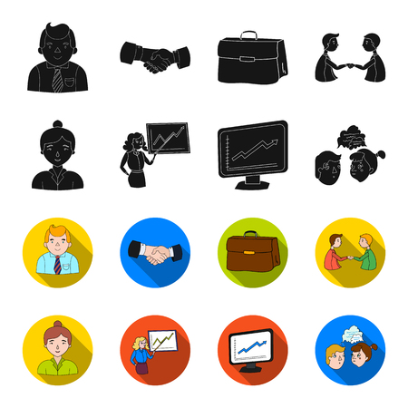 Businesswoman, growth charts, brainstorming.Business-conference and negotiations set collection icons in black,flet style vector symbol stock illustration web.