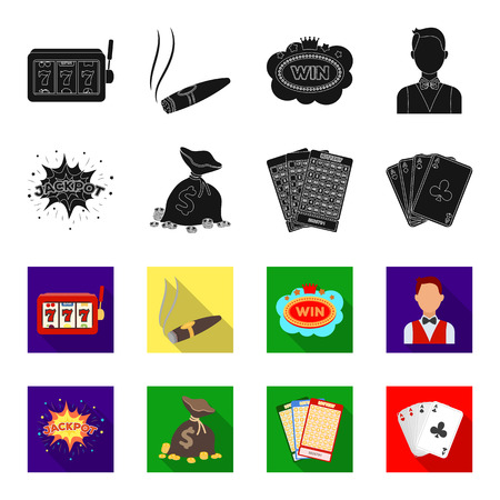 Jack sweat, a bag with money won, cards for playing Bingo, playing cards. Casino and gambling set collection icons in black,flet style vector symbol stock illustration web.