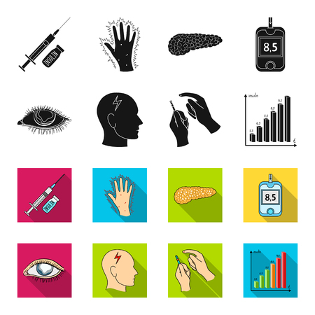 Poor vision, headache, glucose test, insulin dependence. Diabetic set collection icons in black,flet style vector symbol stock illustration .