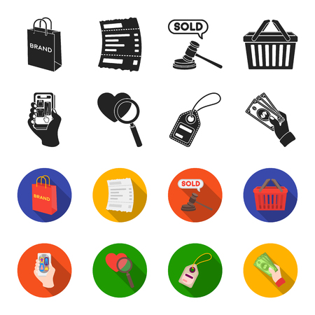 Hand, mobile phone, online store and other equipment. E commerce set collection icons in black,flet style vector symbol stock illustration . Illustration