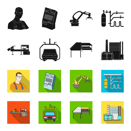 Automotive industry and other icon in black,flet style.New technologies icons in set collection.
