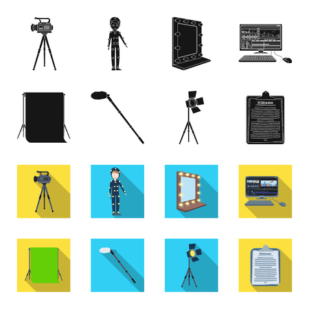 Hromakey, script and other equipment. Making movies set collection icons in black,flet style vector symbol stock illustration . Stock Illustratie