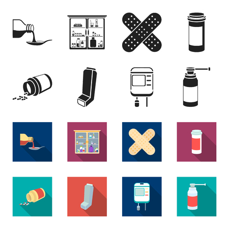 Tablets, inhaler, container with blood, spray.Medicine set collection icons in black,flet style vector symbol stock illustration . Illusztráció
