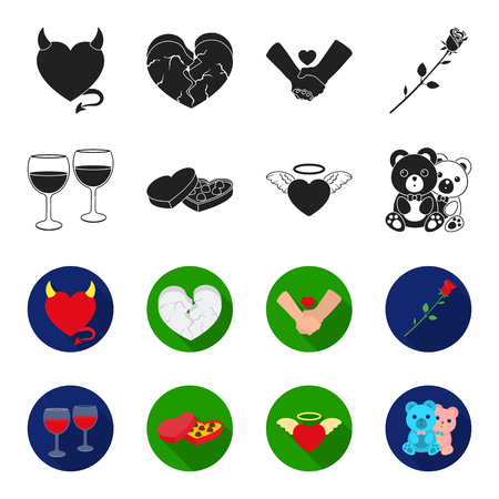 Glasses with wine, chocolate hearts, bears, valentine.Romantik set collection icons in black,flet style vector symbol stock illustration . Illustration