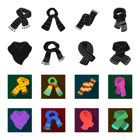 Various kinds of scarves, scarves and shawls. Scarves and shawls set collection icons in black,flet style vector symbol stock illustration . Stock Illustratie