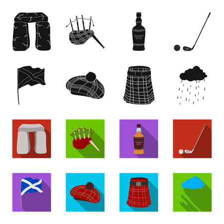 Flag, kilt, rainy weather, cap.Scotland country set collection icons in black,flet style vector symbol stock illustration .