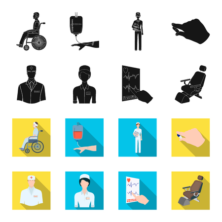 The attending physician, the nurse, the cardiogram of the heart, the dental chair. Medicineset collection icons in black,flet style vector symbol stock illustration .