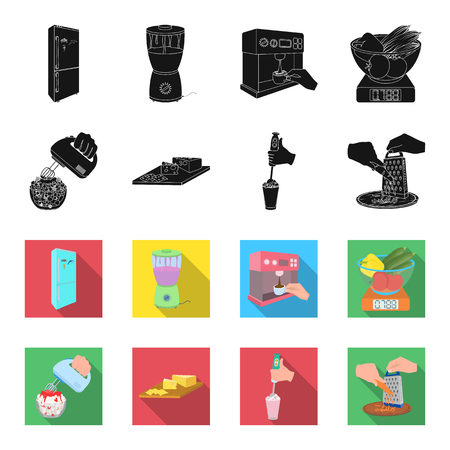 , jam, diet, accessories and other  icon in black,flet style.cook, equipment, appliance icons in set collection Illustration